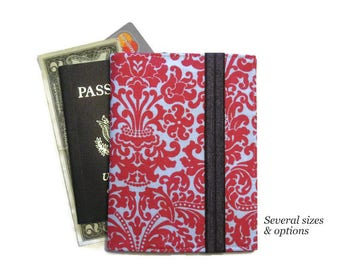 Women's Passport Cover, Family Travel Wallet, Passport Wallet for 1-6, Red Damask Passport Holder Cell Phone Case, Ready to Ship Travel Gift