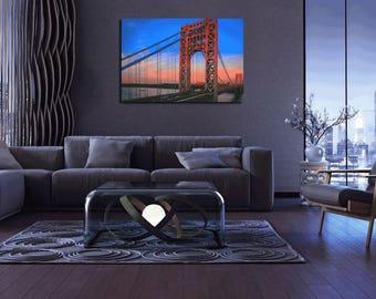 George Washington Bridge Sunset 36 x 24 Hi Res Art Print Home Decor Canvas Print Poster Wall Art