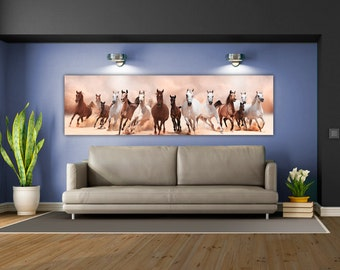 Gorgeous HD Acrylic of Horses Running-  Museum Quality! Perfect for Livingroom of Office. Ready to hang