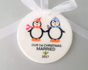Our First Christmas Married Ornament, Wedding Ornament, Wedding Ornaments, Newlywed Gift, Wedding Gift, Bride, Penguin Ornament