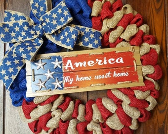 American Flag, Flag Wreath, America My Home Sweet Home, Home Sweet Home, American Flag Wreath, Fourth Of July, Patriotic Wreath, Military