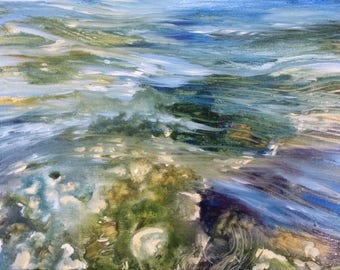 Waves , water oil on canvas original painting