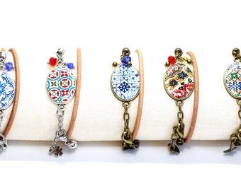 Portuguese tile bracelet, colorful charm leather bracelet, azulejo, boho bracelet, adjustable bracelet, unique anniversary gift for women