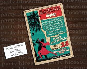 Printable  5x7 Havana Nights Cuban Invitation, Corporate Event, 30th Birthday, 40th Birthday, New Years Eve Theme Party