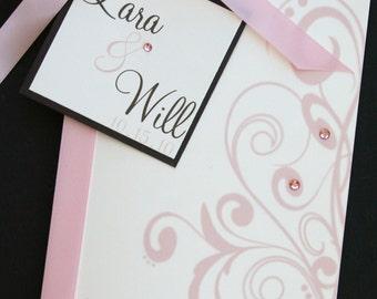 Flourishing Elegance Wedding Program with Hanging Label