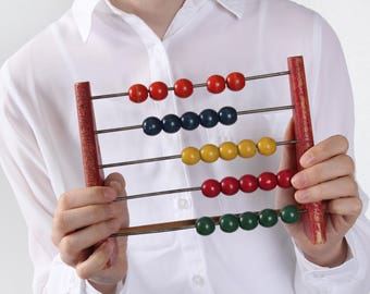 Vintage Wooden ABACUS, Educational wooden Counting Frame, Calculator school, Rainbow beads Learning Game