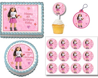 American Girl Grace Thomas Edible Birthday Cake Toppers, Plastic cupcake Picks, Gift Tags or Stickers