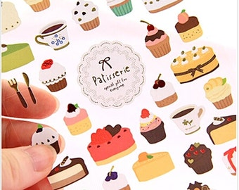 Korea Kawaii CUP CAKE Dessert Stickers. Daily Diary Transparent Deco Stickers. For Filofax KIKKI.K Erin Condren Life Planner decorations.