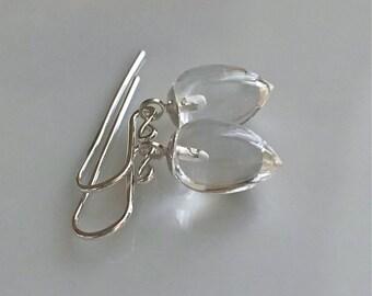 Clear Rock Crystal Quartz Earrings     Inverted Teardrop Earrings      Sterling Silver Earrings