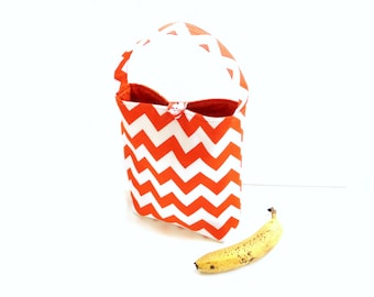Insulated lunch tote bag, orange chevron fabric lunch sack with handle, back to school, student lunch bag