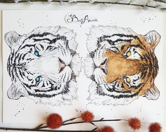 Tiger, tiger painting, big cat art, tiger art, tiger head painting, yin yang, quirky home decor, tiger gift,manly decor, manly gift, cat