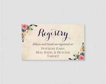 Printable OR Printed Wedding Registry Cards - Floral Wedding Registry Invitation Inserts - Colorful Flower Registry Inserts 0003-A