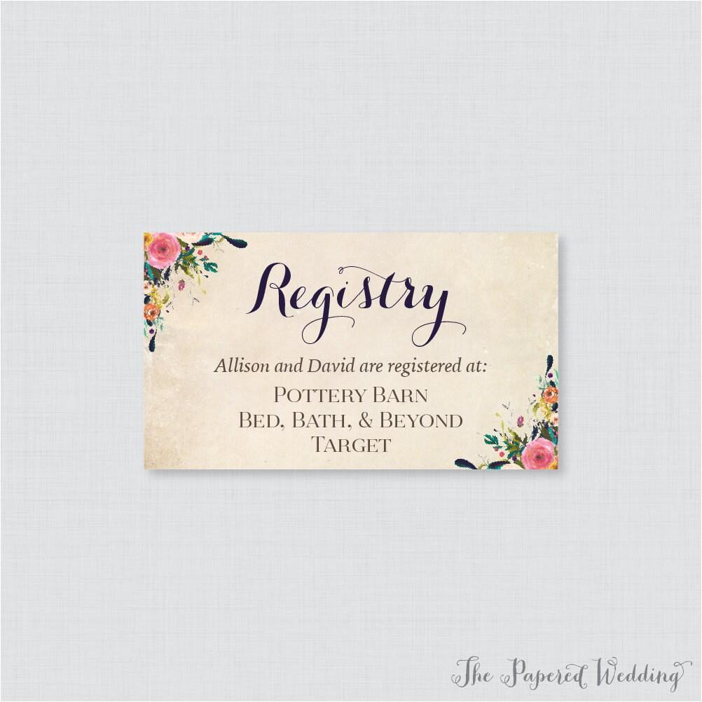 Printable OR Printed Wedding Registry Cards Floral Wedding