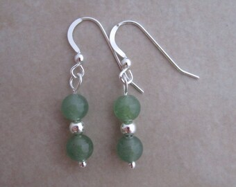 green aventurine sterling silver earrings