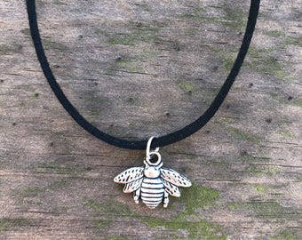 Bee Charm Choker Necklace, Bumble Bee Choker, Honey Bee Choker