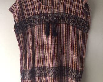 Vintage woven Mexican bohemian fringe top - Large