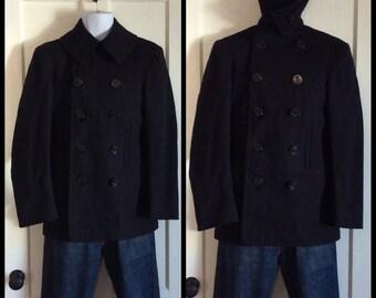 Men's Vintage 1940's Military USN Navy Wool Jacket World War II Pea Coat looks size Small to Medium