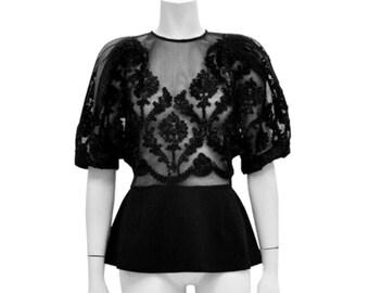 Bardot Black Mesh Blouse (Clothing, Women's Clothing, Tops & Tees Blouses, short sleeve womens, black blouse)