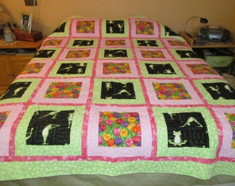 """Frogs and Tulips Quilt  77"""" x 88"""""""
