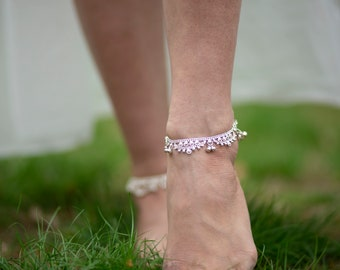 Old Indian Anklet, Sterling Silver Foot Bracelet, Ethnic Jewelry, Belly Dance Jewelry, Indian payal