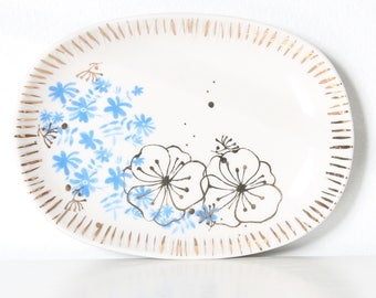 Vintage Small Ceramic Jewelry Dish/ Soap Dish/ Ring Dish/ Gold Flowers/ Blue Flowers/ Handmade