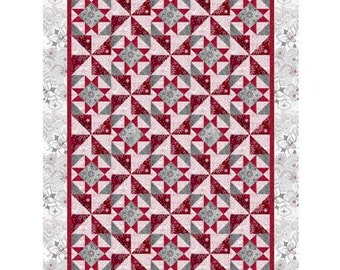 Christmas Dreams Quilt Kit, 57 1/2 x 75 1/2, Quilting Treasures, Quilt Fabric, Cotton Fabric, Christmas Fabric, Holiday Fabric, Snowflake