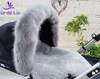 Fur de Lis Lapelle™, Luxury Faux Fur Pram Hood Trim For Bugaboo, Icandy, Stokke, Silver Cross and More. SOFT GREY. Includes UK P&P.