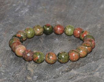 Unakite Bracelet Handmade 8mm Green Orange and Pink Unakite Jasper Beaded Gemstone Bracelet Epidote Stack Bracelet Jewelry Gift Bracelet