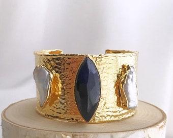 Sapphire Cuff Bracelet // Saphire Gold Bracelet // Black Saphire Bracelet