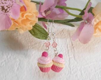 Earrings raspberry cupcake mini Fimo polymer clay 925 silver plated