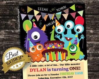First Birthday Invitation Boy - Monster Birthday Invitation - Printable