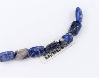 14mm x 10mm Sodalite Faceted Rectangle Bead (7 Pcs)