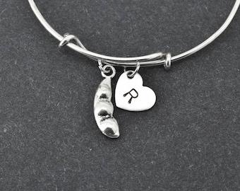 Peas Bangle, Sterling Silver Bangle, Peas Bracelet, Bridesmaid Gift, Personalized Bracelet, Charm Bangle, Initial Bracelet, Monogram