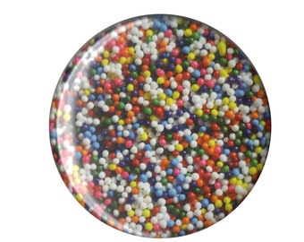 """Rainbow Nonpareils Sprinkles ONE & a HALF INCH button pin pinback badge handmade homemade 1.5"""" sweets dessert junk food colorful cupcake"""