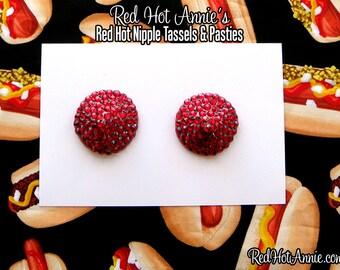 Scarlet Rhinestone Burlesque Pasties (Red)