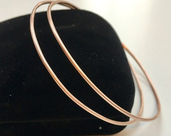 14K Rose Gold Bangle Pair of (2) SOLID Rose Gold Bracelets - Herloom Quality - A Beautiful Timeless Style - Marked 14K