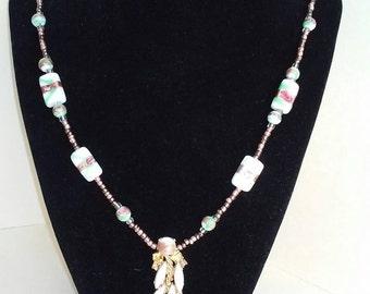 vintage pendant put with white ceramic copper necklace