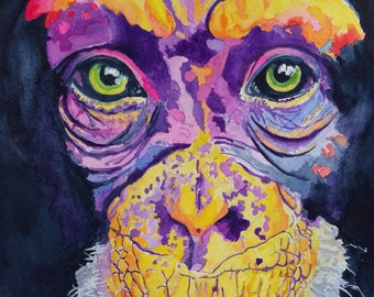 Erica Arend original watercolor Chimpanzee