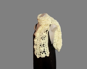 Crochet Scarf, Neckwarmer, Neck Scarf, Yellow Scarf, Tea Scarf, Womens Neck Wrap, Crochet Scarf, Fringe Scarf, Long Scarf, Winter Scarf