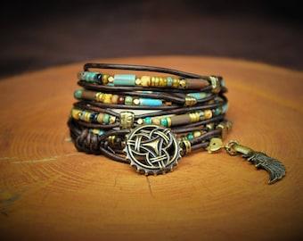 "5-Wrap Leather Bracelet -- Fits 6"" Wrist"