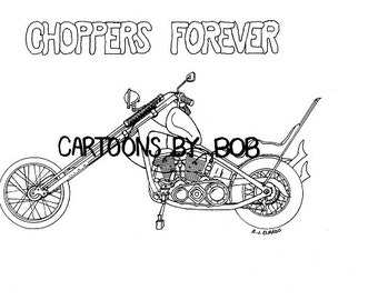 Chopper -- Motorcycle Drawing  ---  Limited Edition Print --- Signed and Numbered Print
