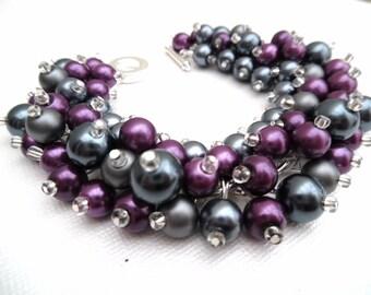 Beaded Bracelet, Plum and Slate Gray, Wedding Jewelry, Pearl Bridesmaid Bracelet, Cluster Bracelet, Pearl Bracelet, Purple Wedding, Chunky