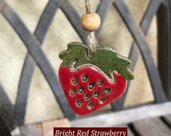 Ceramic Strawberry Ornament | Red Stoneware Strawberry Gift Tag | Pottery Strawberry Art | Strawberry Ornament  | Strawberry Charm