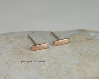 Rose Gold Bar Earrings 14K Rose Gold Studs Minimalist Earrings Solid Rose Gold Earrings Rose Gold Jewelry