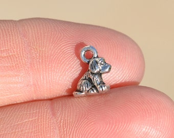 12 Little Sitting Dog Silver Charms SC1530