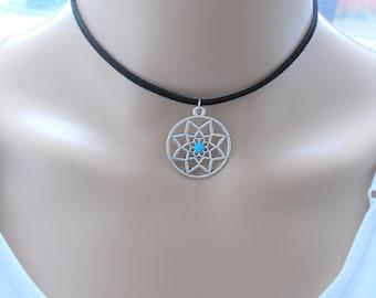 silver flower choker necklace - boho jewellery - layering choker - black short necklace