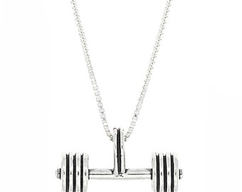 Sterling Silver Weightlifting Straight Barbell Necklace (3d Charm)