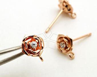 SI-866-RG / 2 Pcs - Dainty Tiny Rose CZ Stud Earrings, Rose Flower Post Studs (Crystal) Rose Gold Plated, 925 Sterling Silver Post / 7mm