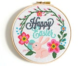 Easter wreath cross stitch Easter decor Easy Easter cross stitch pattern Easter Eggs Bunny Rabbit cross stitch PDF Flower cross stitch chart