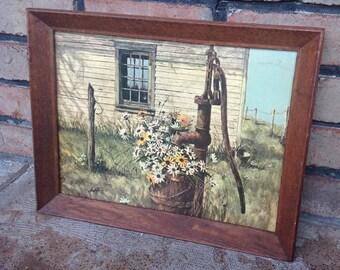 Vintage Framed Art, Framed Print, Farm House Decor, Vintage Wood Frame, Framed Flower Print, Vintage Art Work, Country Art, Primitive Art